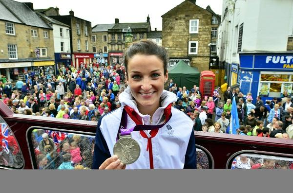Cyclist Lizzie Armitstead with her silver medal at her homecoming in Otley tonight