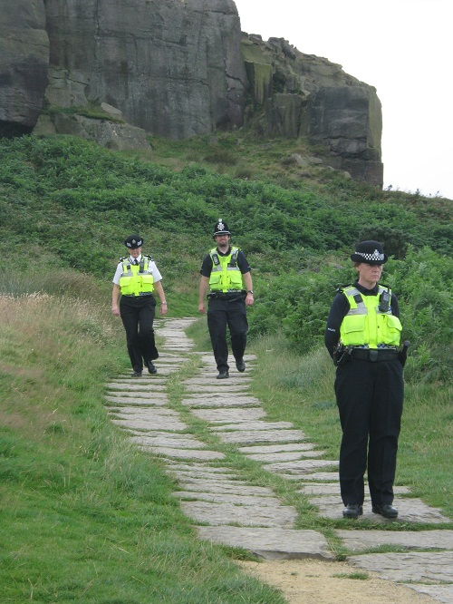 Police at the Cow and Calf rocks above Ilkley at the time of the incident
