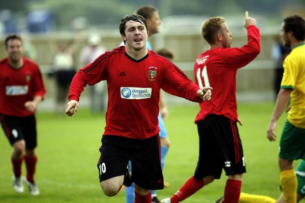 Joe Gaughan celebrates putting Silsden 2-0 ahead in the FA Cup but they still lost 3-2 at home to brighouse Town