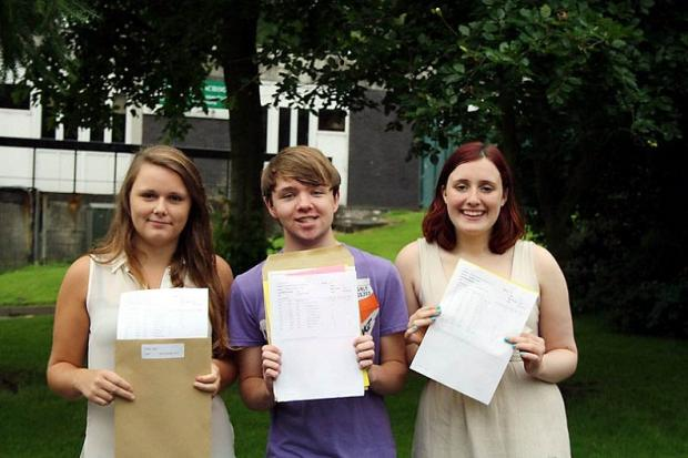 Among Oakbank School A-level students picking up their results were, from left, Katy Town, Anthony Garnett and Katherine Harris