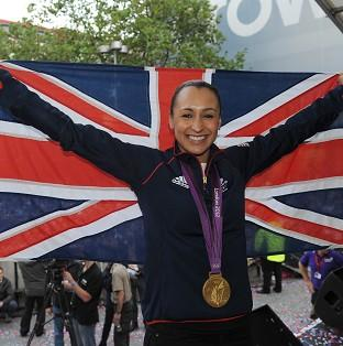 Gold medal winner Jessica Ennis celebrates during her Olympic homecoming in Sheffield