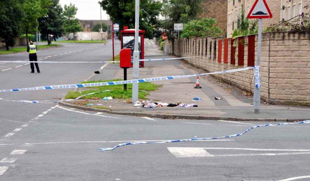 The scene of last night's shooting in Dick Lane, Bradford