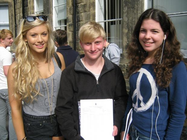 Celebrating good GCSE grades at Ilkley Grammar School were Abi Birch, Simon Wood and Amy Elliott. Abi dashed back from setting her tent up at Leeds Festival to pick up her results