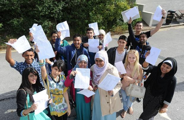 Pupils celebrate their GCSE results at Carlton Bolling College