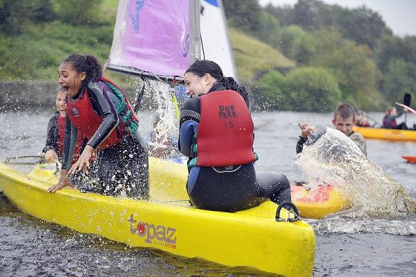 Fun on the water at Doe Park water sports centre in Denholme for these youngsters