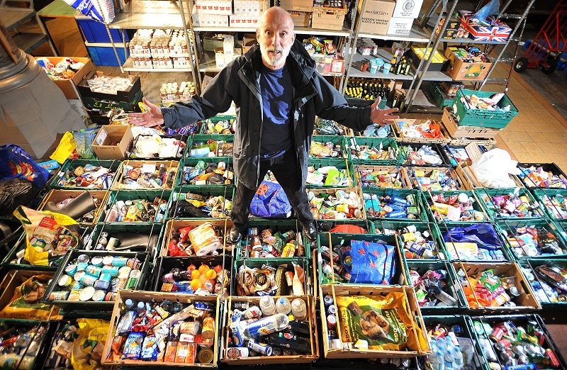Keith Thomson with some of the food collected