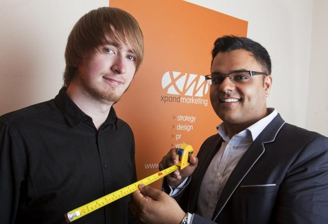 MADE TO MEASURE: Company founder Jag Panesar (right) with new recruit Joe Dimuantes