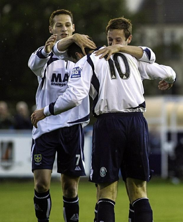 Blue Square Bet North's leading scorer Gavin Rothery, left, celebrates with fellow sharpshooters Nicky Boshell and Wayne Brooksby against Droylsden. Picture: www.footballcaughtinaction.co.uk