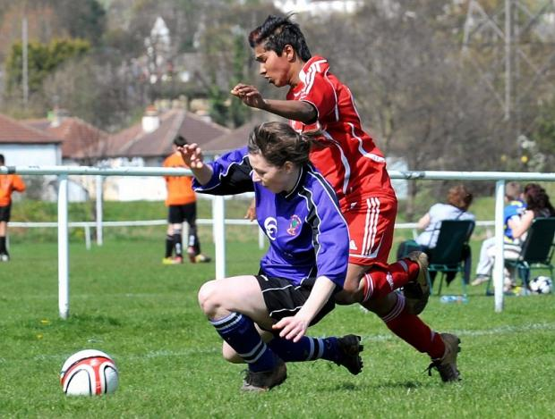 Fatima Khatun, right, was on target for Keighley in their 5-2 defeat by Ossett Albion