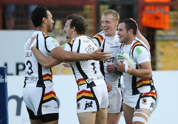 Things had started so well for the Bulls after Jason Crookes, far right, got the first points on the board