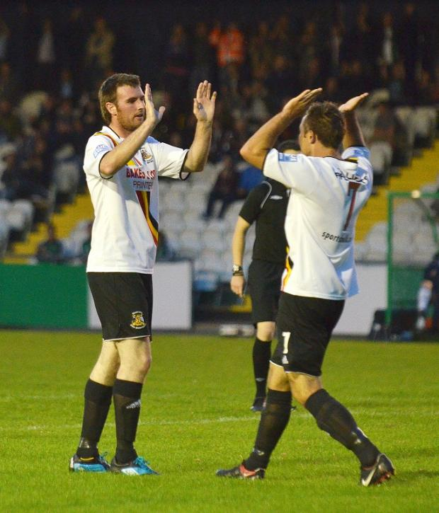 Paul Walker, left, celebrates Avenue's goal with creator Tom Greaves