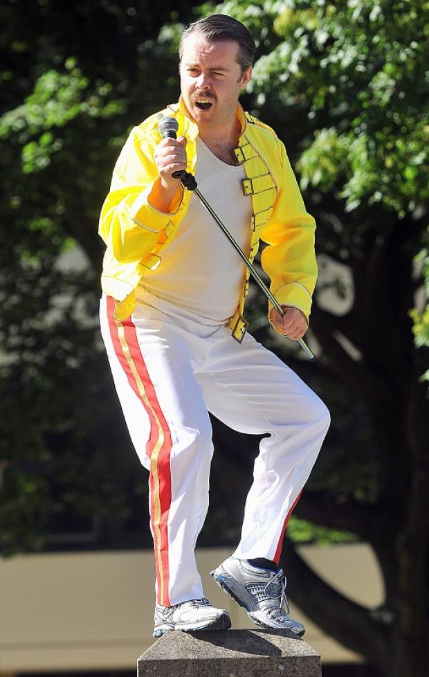 Dan McGlade raising money dressed as Freddie Mercury for the Mercury Phoenix Trust, for aids awareness and education