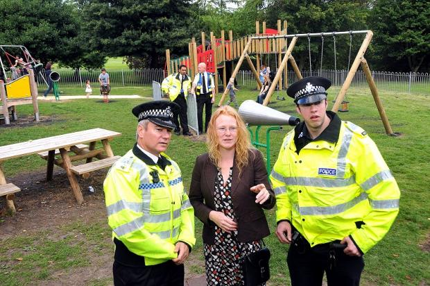 Insp Tom Horner (left) with Councillor Sinead Engel and Sgt Al Milner at Ladyhill Park in Allerton