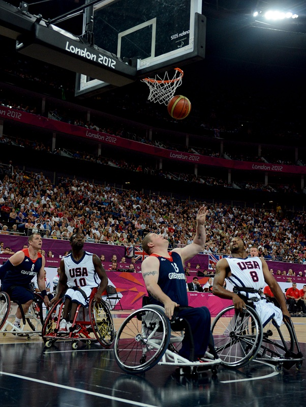 Pete Finbow scores a basket for Great Britain during the bronze medal match against the United States