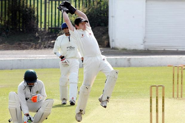 Bankfoot wicketkeeper Micky Hutchins shows his agility behind the stumps, before later top-scoring with 61 in his side's victory over Idle