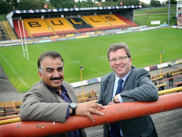 Omar Khan and Gerry Sutcliffe pictured at Odsal Stadium