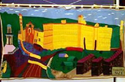 WOOL DONE: The knitted version of David Hockney's painting of Salts Mill