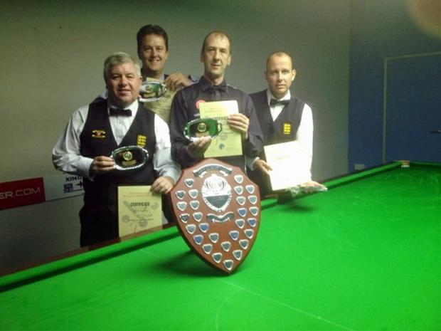 Kevin Firth, second right, with the winning England Seniors team