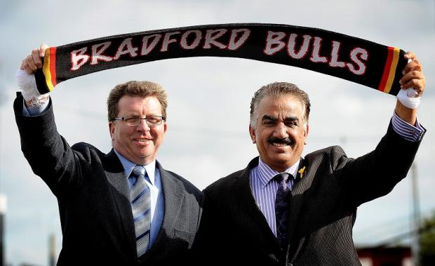 New owners Gerry Sutcliffe and Omar Khan celebrate the news of Bradford Bulls' Super League licence