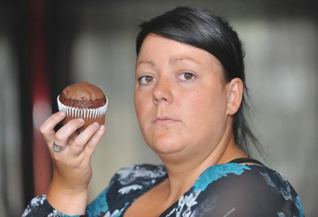 Clare Garbutt with muffins that her condition does allow her to eat