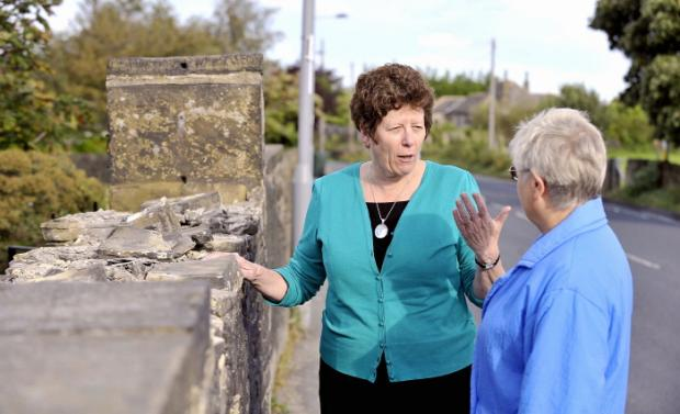 Councillor Jeanette Sunderland (left) at the site of the stolen stones