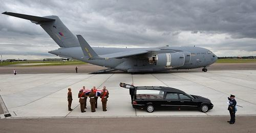 MOVING: Sgt Gareth Thursby is brought home to rest