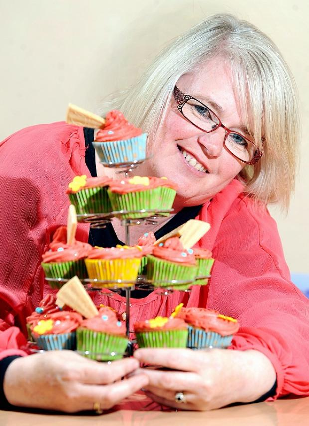 Sharon Hodges with some of the cupcakes she makes
