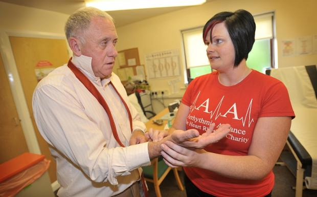 TV presenter Harry Gration is checked at a previous heart rhythm session