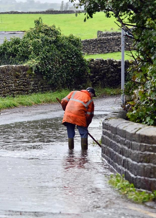 A scene of flooding in the Aire Valley yesterday