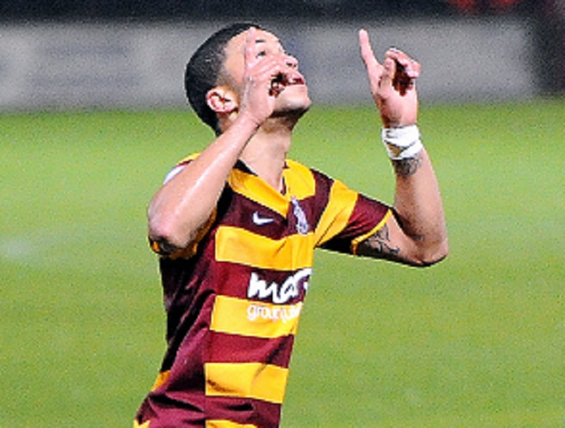 Nahki Wells celebrates after scoring against Burton Albion in the Capital One Cup
