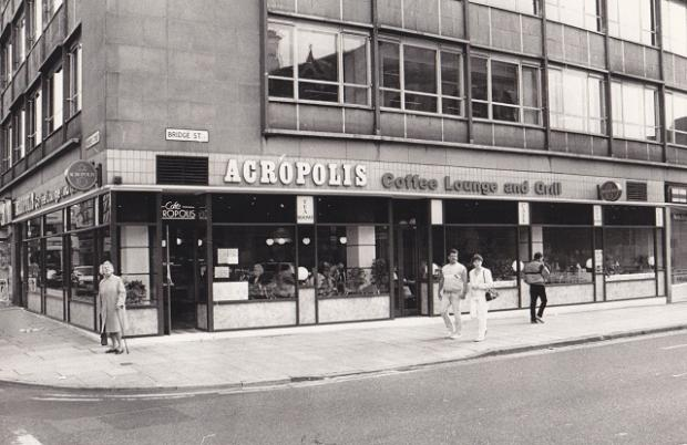The Acropolis in its former position at the junction of Market Street and Bridge Street