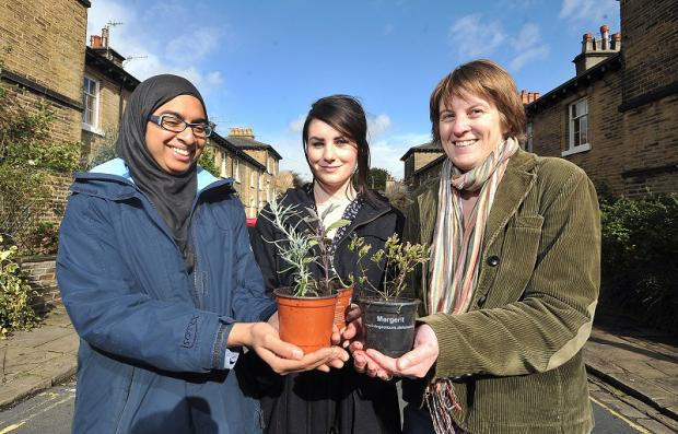 From left, students Waheeda Kothdiwala and Natalie Graham and Sustainable Saltaire's Sheri-Leigh Myles