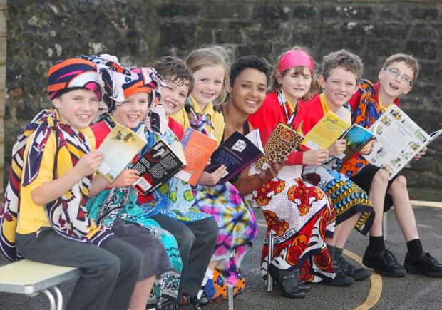 Kenyan storyteller Mara Menzies holds a workshop with Kirby Malham Primary School pupils