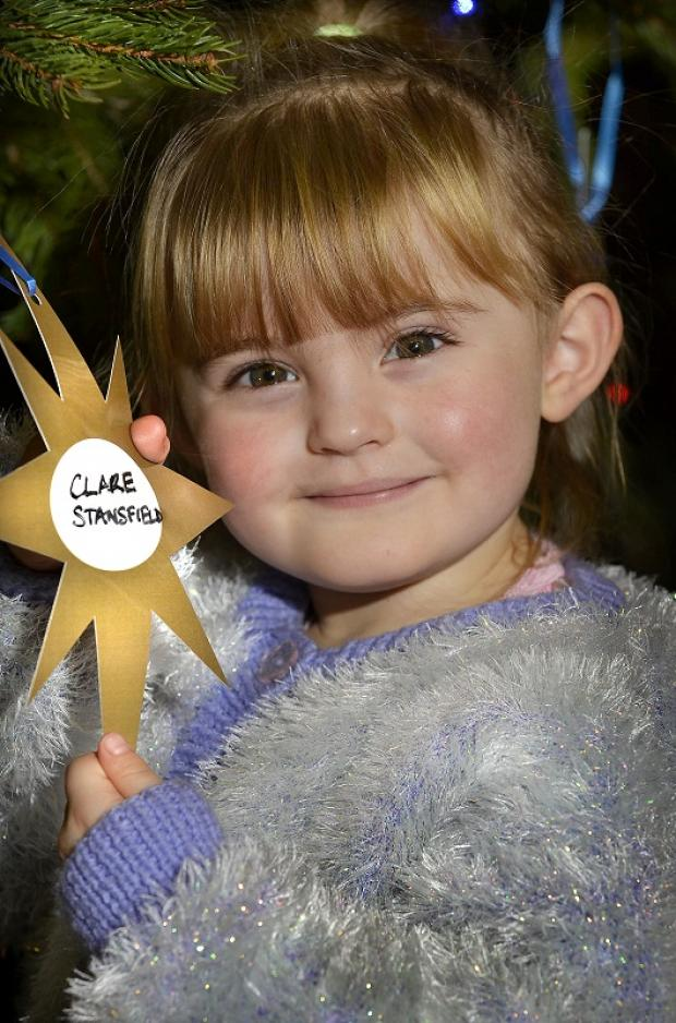 This is three-year-old Lloretta-Clare Moorhouse, from Allerton – one of the youngest to hang a star on the City Hall tree last year, at a  ceremony for the Lord Mayor's Christmas Star Appeal. Her star was for her great-nan Clare Stansfield