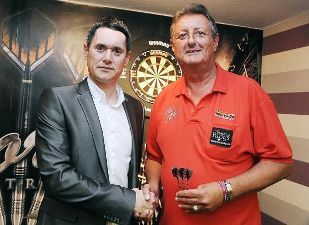 Promoter Mick Speight with Eric Bristow at York Street Sports & Social Club in Bingley