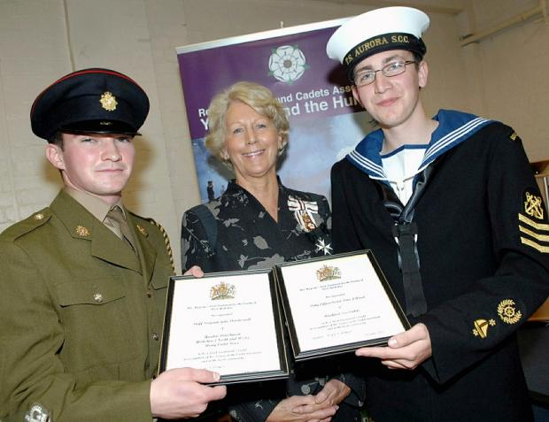 AWARDS: Jake Dowdeswell (left) and Peter Wood with their awards and the Lord-Lieutenant of West Yorkshire Dr Ingrid Roscoe