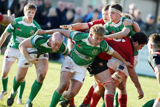 FORWARD MOVEMENT: Wharfedale hooker Steve Graham links up with James Tyson against Blaydon