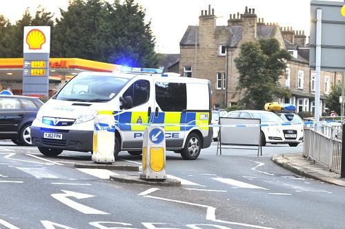Police at the scene of the fatal crash in Saltaire