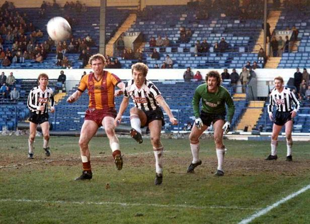Bobby Campbell causes panic in the Grimsby defence in a 1986 league match