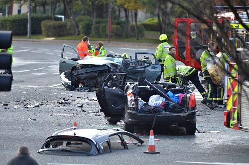 The aftermath of the collision at the junction of Valley Road and Canal Road
