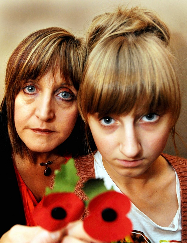 Teenage poppy seller Bethany Holmes, who suffered abuse last year, pictured with her mother Christine