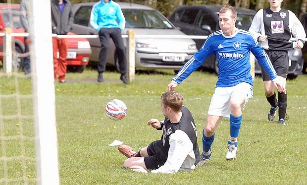Graeme Sides, right, put Buttershaw White Star ahead as they clinched their place in the third round of the Bradford & District FA Sunday Senior Cup