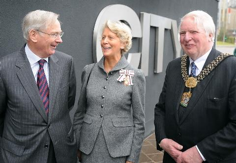 The Duke of Gloucester with the Lord Lieutenant of West Yorkshire, Dr Ingrid Roscoe, and the Lord Mayor, Coun Dale Smith, at the City Park opening