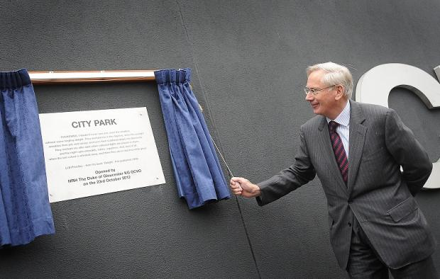 The Duke of Gloucester unveils the plaque to open City Park in Bradford