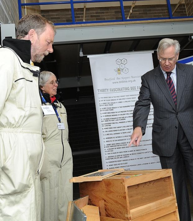 The Duke of Gloucester meets beekeepers Bill and Lyn Cadmore
