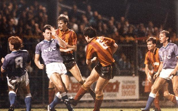Ian Ormondroyd watches as Dave Evans' shot makes it's way to the Everton goal. Recognise the No 8 far left? That's right, it's Stuart McCall