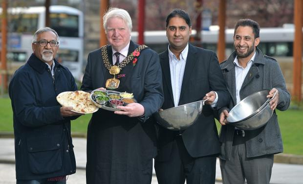 The Lord Mayor of Bradford Dale Smith with Mohammad Akhtar from Shimla Spice, Amjad Bashir from Zouk and Tahir Iqbal from Aargah in Shipley