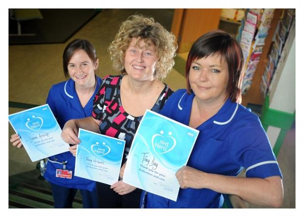 From the left, nurses Donna Ashcroft, Tracey Hellawell and Tracy Day with their awards