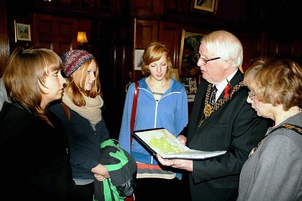 The exchange students meet the Lord Mayor and Lady Mayoress of Bradford