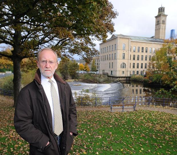 David Shaw from Saltaire History Society in Roberts Park, Saltaire, who is opposing plans for a hydro electric turbine at Saltaire Weir